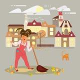 De vrouw zingt het schoonmaken stock illustratie