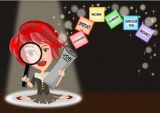 De vrouw zoekt voor baan stock illustratie