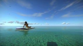 De vrouw zonnebaadt Sunny Summer Beach Relaxing Concept Hoog - kwaliteits volkomen 3D animatie van een blauwe tropische oceaan royalty-vrije illustratie