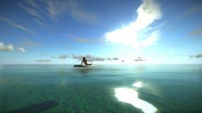 De vrouw zonnebaadt Sunny Summer Beach Relaxing Concept Hoog - kwaliteits volkomen 3D animatie van een blauwe tropische oceaan vector illustratie