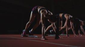 De vrouwelijke agenten bij atletiek volgen het buigen bij de startblokken vóór een ras in langzame motie stock video