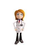 De vrouwelijke arts met status stelt Stock Foto