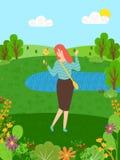 De vrouwelijke dame heeft pret Aard, eco schoon milieu vector illustratie