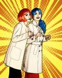 De vrouwelijke detectives onderzoeken een misdaad Jonge vrouwen in grappige pop vector illustratie