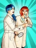 De vrouwelijke detectives onderzoeken een misdaad Jonge vrouwen in grappige pop royalty-vrije illustratie