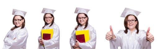 De vrouwelijke die student op wit wordt geïsoleerd Royalty-vrije Stock Afbeelding