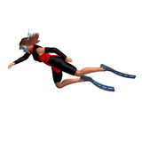 De vrouwelijke duiker met snorkelt stock illustratie
