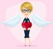 De vrouwelijke engel met mooie vleugels geeft hart voor Stock Foto's