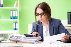 De vrouwelijke financiële manager die in het bureau werken stock fotografie