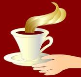 De vrouwelijke hand die kop aromatische koffie geeft royalty-vrije illustratie