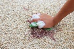 De vrouwelijke hand maakt het tapijt met spons en detergens schoon stock foto