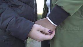 De vrouwelijke hand strijkt zwarte hand stock videobeelden