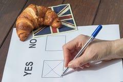 De vrouwelijke hand vulde JA het referendum in Royalty-vrije Stock Fotografie