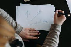 De vrouwelijke handen die het handvat houden zijn dichtbij een wit blad van document Royalty-vrije Stock Afbeelding