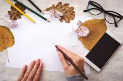 De vrouwelijke handen die op wit leeg document op houten lijst met potloden, mobiele telefoon, glazen en de herfst schrijven gaat Royalty-vrije Stock Foto