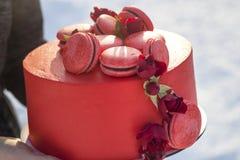 De vrouwelijke handen die plaat met heerlijke yummy eigengemaakte rode die cake met macarons houden met bloemen op licht wordt ve royalty-vrije stock foto