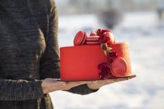 De vrouwelijke handen die plaat met heerlijke yummy eigengemaakte rode die cake met macarons houden met bloemen op licht wordt ve royalty-vrije stock afbeeldingen