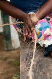De vrouwelijke handen maken een graan van de vezel van de kokosnotenkopra Royalty-vrije Stock Afbeeldingen