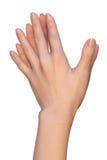 De vrouwelijke handen raken met doorweven vingeruiteinden Royalty-vrije Stock Foto's