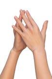 De vrouwelijke handen raken met vingeruiteinden Royalty-vrije Stock Afbeeldingen