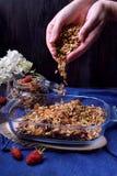 De vrouwelijke handen strooien granola uit royalty-vrije stock afbeelding