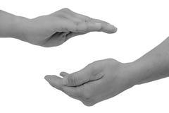 De vrouwelijke handen toont bescherming Stock Fotografie
