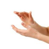 De vrouwelijke handen van het applaus die op wit worden geïsoleerd? Royalty-vrije Stock Afbeeldingen