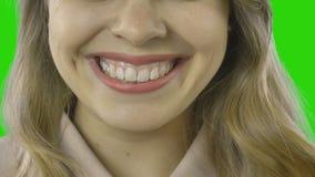 De vrouwelijke lippen sluiten omhoog, tongaanrakingen de hoek van de lippen stock video