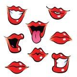 De vrouwelijke monden van het beeldverhaal met glanzende lippen Stock Foto