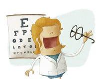 De vrouwelijke oftalmoloog neemt glazen Stock Fotografie