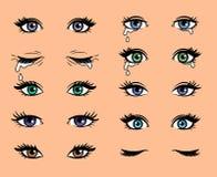 De vrouwelijke ogen van het beeldverhaalpop-art vector illustratie