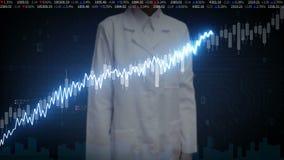 De vrouwelijke onderzoekersingenieur raakte het scherm, diverse geanimeerde Effectenbeursgrafieken en grafieken verhogingslijn Ku stock illustratie