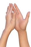 De vrouwelijke palmen raken met vingeruiteinden Stock Foto's