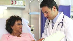 De Vrouwelijke Patiënt van artsentalking to senior in het Ziekenhuisbed stock footage