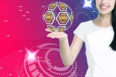 De vrouwelijke pictogrammen van de handholding bitcoin stock afbeeldingen