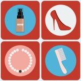 De vrouwelijke reeks van het Schoonheids kleurrijke pictogram Royalty-vrije Stock Foto