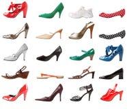 De vrouwelijke reeks van schoenen   Geïsoleerde Royalty-vrije Stock Foto's