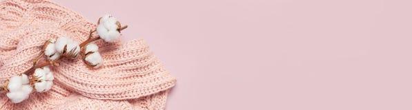 De vrouwelijke roze gebreide sweatertrui en de tak van katoen op pastelkleur roze achtergrond hoogste meningsvlakte lagen Manier  stock afbeelding