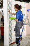 De vrouwelijke schilder verfraait muur, uitvoerend taak Royalty-vrije Stock Fotografie