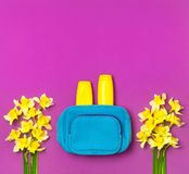 De vrouwelijke schoonheidsmiddelenzak, cosmetischee producten, zonneschermroom, nevel, gele narcissengele narcis bloeit op helder stock foto
