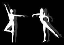 De vrouwelijke Silhouetten van de Yoga van de Geschiktheid Stock Foto