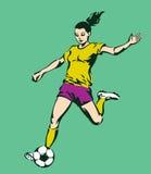 De Vrouwelijke Speler van de voetbalvoetbal Royalty-vrije Stock Afbeelding