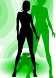 De vrouwelijke Status van het Silhouet Stock Afbeeldingen