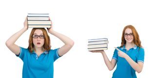 De vrouwelijke student met vele die boeken op wit wordt geïsoleerd stock afbeelding