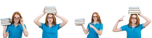 De vrouwelijke student met vele die boeken op wit wordt ge?soleerd royalty-vrije stock afbeeldingen