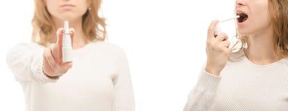 De vrouwelijke van de de neus nazal nevel van de handengeneeskunde van de de keelgeneeskunde reeks van de de griepziekte gezonde  royalty-vrije stock afbeeldingen