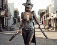De vrouwelijke veedrijfster die gunslinger door het centrum van een westelijke stad met duel lopen zaagde van jachtgeweren vector illustratie