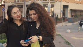 De vrouwelijke vrienden nemen in openlucht selfie stock video
