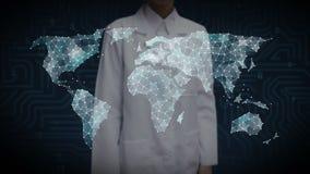 De vrouwelijke wetenschapper, ingenieur wat betreft Punten verzamelt zich om globale wereldkaart, Internet van dingen te creëren  royalty-vrije illustratie