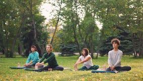 De vrouwelijke yogastudenten doen uitrekkende oefeningen met instructeurs mooie vrouw tijdens openluchtklasse in park stock videobeelden